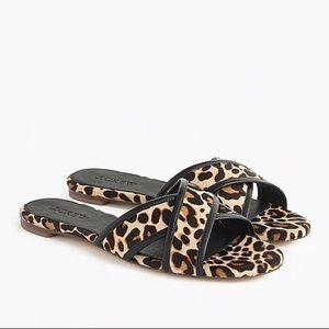 NEW J.Crew Leopard Leather Cora Sandals